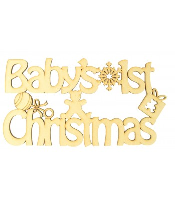 Laser cut 'Baby's 1st Christmas' Quote Sign