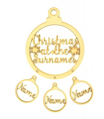 Laser Cut Personalised 'Christmas At The...' Bauble Dream Catcher with Hanging Baubles