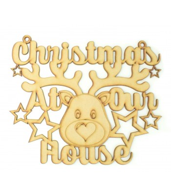 Laser Cut 'Christmas at our house' Cute Reindeer Sign