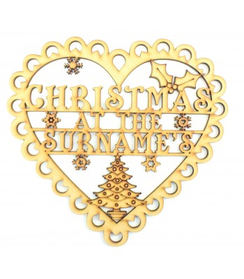 Laser Cut Personalised 'Christmas At The...' Lace Heart Design