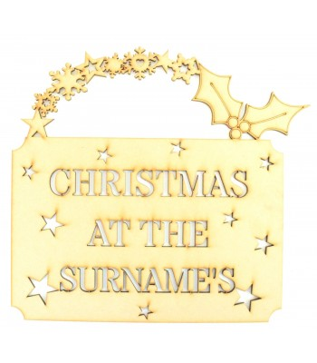 Laser Cut Personalised 'Christmas At The...' Hanging Stencil Sign