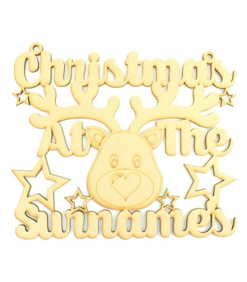 Laser Cut Personalised 'Christmas At The...' Cute Reindeer Sign  - Size Options