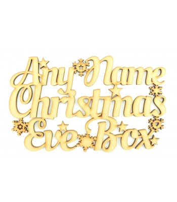 Laser cut Personalised 'Christmas Eve Box' Script sign with stars & Snowflakes