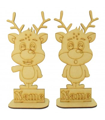 Laser Cut Personalised Single Cute Reindeer - Etched Names in Plinths