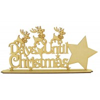 Laser Cut 'Days Until Christmas' Star Countdown sign - Reindeer Design on a stand