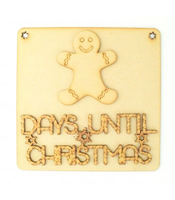 Laser Cut 3D 'Days Until Christmas' Countdown Plaque - Gingerbread Design