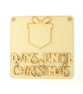 Laser Cut 3D 'Days Until Christmas' Countdown Plaque - Present Design