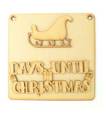 Laser Cut 3D 'Days Until Christmas' Countdown Plaque - Sleigh Design
