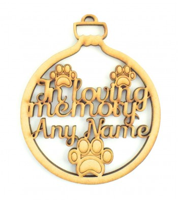 Laser Cut Personalised 'In Loving Memory' Pet Paws Christmas Bauble