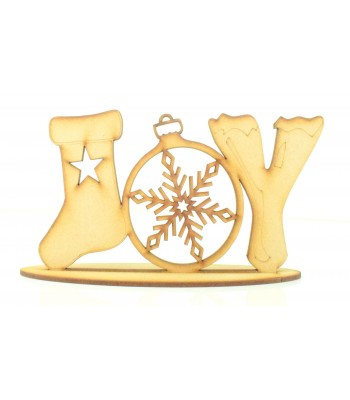Laser cut Detailed JOY word on a stand