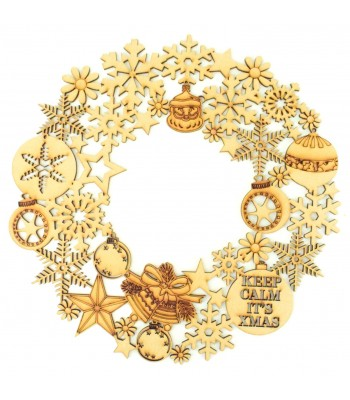 Laser Cut Detailed Christmas Snowflakes & Baubles Wreath