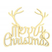 Laser cut 'Merry Christmas' Quote Sign with Antlers