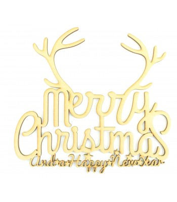 Laser cut 'Merry Christmas and a Happy New Year' Quote Sign with Antlers