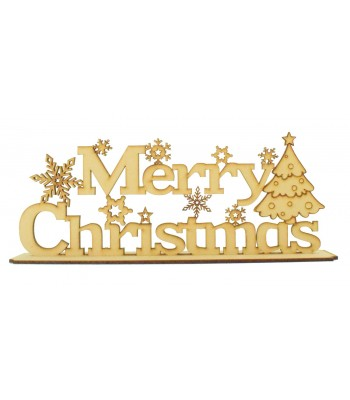 Laser cut 'Merry Christmas' Detailed Sign on a stand with snowflakes & Christmas Tree