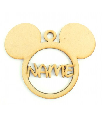 Laser Cut Personalised Christmas Mouse Head Bauble - 120mm Size