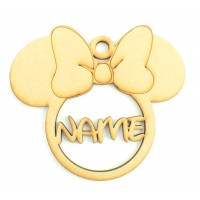 Laser Cut Personalised Christmas Mouse Head with Bow Bauble - 120mm Size