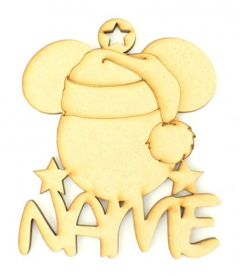 Laser Cut Personalised Santa Mouse Decoration - 100mm Size
