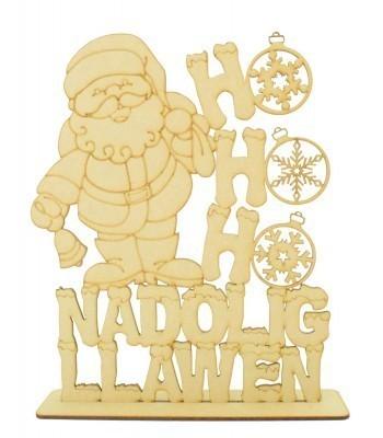 Laser cut 'HoHoHo Nadolig Llawen' Santa Sign on a stand