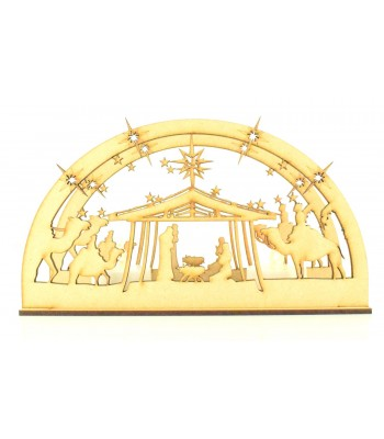 Laser Cut 3D Small Christmas Nativity Scene Tealight Design on a Stand