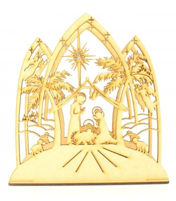 Laser Cut 3D Christmas Nativity Scene Tealight Design on a Stand