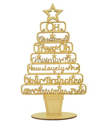 Laser Cut 'Oh Christmas Tree, Oh Christmas Tree, How lovely are your Branches...' Christmas Tree on a stand