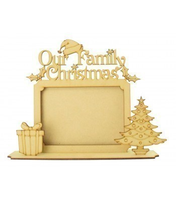 Laser cut 'Our Family Christmas' Photo Frame on a stand