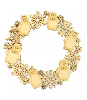 Laser Cut Detailed Penguin and Snowflake Wreath