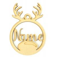 Laser Cut Personalised Reindeer Head Christmas Bauble - Bob Font
