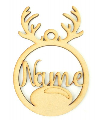 Laser Cut Personalised Reindeer Head Christmas Bauble - Bob Font