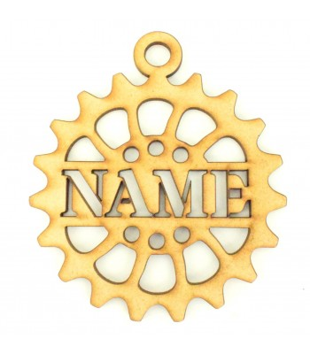 Laser Cut Personalised Stencil Steampunk Cog Christmas Bauble - S Stencil Font
