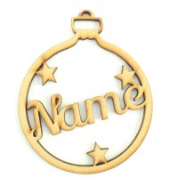 Laser Cut Personalised Bauble - Name with Stars - 100mm Size