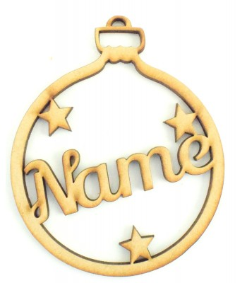 Laser Cut Personalised Bauble - Name with Stars - 100mm Size - BULK BUY PACK OF APPROX 90