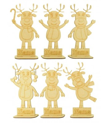 Laser Cut Personalised Single Reindeer Character Family - Etched Names in Plinths