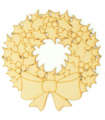 Laser Cut Christmas Holly Wreath