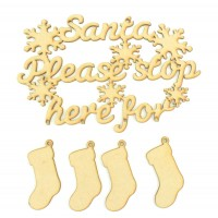 Laser Cut 'Santa Please Stop Here' Sign With 4 Hanging Stockings