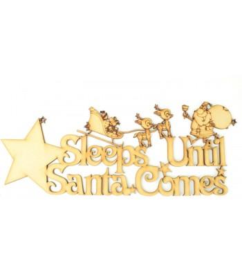 Laser Cut  'Sleeps Until Santa Comes' star countdown sign - Santa & Reindeer Design