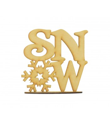 Laser cut 'Snow' Snowflake word on a stand