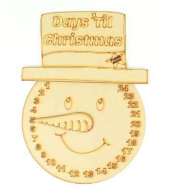 Laser Cut Etched 'Days Till Christmas' Snowman Countdown