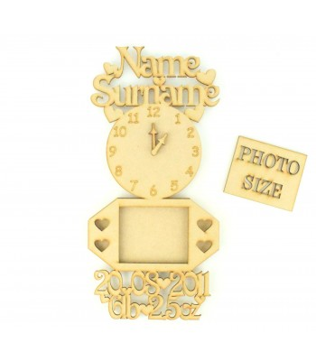 Personalised Birth Details with clock and photo frames - Options Available