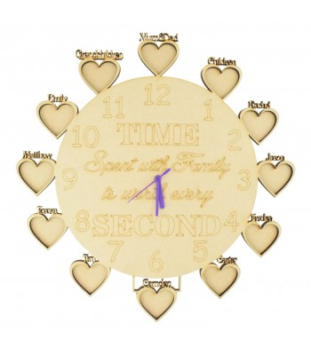 Laser Cut 'Time Spent with Family is worth every second' Clock with Personalised Frames - 6mm thickness