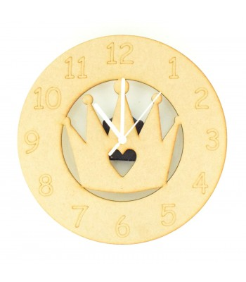 Laser cut Princess Crown Clock with Clock Mechanism