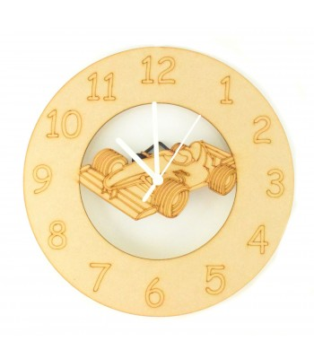Laser cut F1 Racing Car Clock with Clock Mechanism