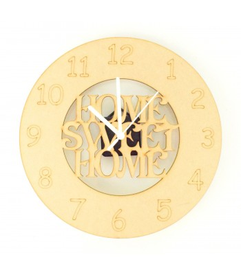 Laser cut 'Home Sweet Home' Clock with Clock Mechanism