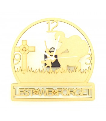 Laser Cut 'Lest We Forget' Remembrance Clock with Clock Mechanism - Solder & Cross Design