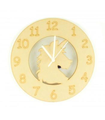 Laser cut Plain Unicorn Head Clock with Clock Mechanism