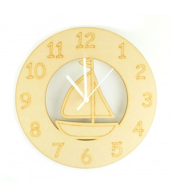 Laser cut Sail Boat Clock with Clock Mechanism