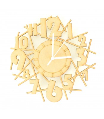 Laser cut Scattered Numbers Clock with Clock Mechanism