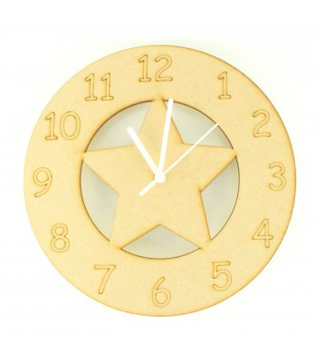 Laser cut Star Clock with Clock Mechanism
