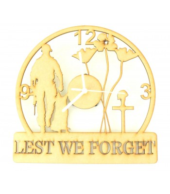 Laser Cut 'Lest We Forget' Remembrance Clock with Clock Mechanism - Soldier & Dog Design