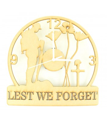 Laser Cut 'Lest We Forget' Remembrance Clock with Clock Mechanism Bulk Buy pack of 10